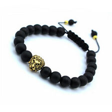 8mm Black Matte Agate Gemstone Beads Antique Gold Lion Adjustable Mens Bracelets
