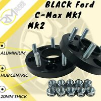 BLACK Ford C-Max MK1 MK2 5x108 20mm Hubcentric wheel spacers 1 pair