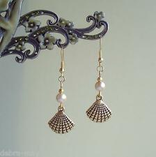 Pretty Golden Shell and Creamy Pearl Dangly Drop Earrings - Beach Holiday Sea