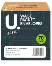 Wage Cash Packet Brown Envelopes Printed Staff Pay Self Seal 70 Pack