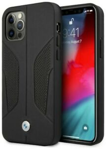 Genuine Leather BMW Debossed Perforate Sides For iPhone 12 and 12 Pro - Black
