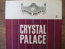 Crystal Palace Home Teams Football League Fixture Programmes
