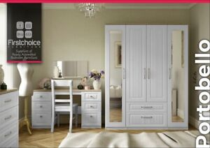 Ready Assembled Chest Of Drawers White Wardrobe Complete Bedroom Furniture Set