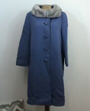 1960s VINTAGE Coat ROMA GAB Blue Button Down Wool Fur trimmed collar Retro