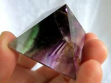 best!! natural transparent purple green fluorite quartz crystal pyramid