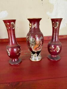 Set of 3 Red Decorative Vases