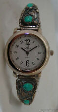 Vintage Southwestern Sterling Silver Tip Turquoise Lady Expansion Band Watch