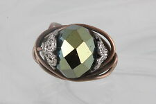 COSTUME HAND MADE GREEN FACETED GLASS STONE WIRE BAND RING FASHION 0225