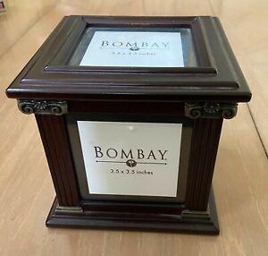 """BOMBAY COMPANY 2002 MAHOGANY FRAMED PHOTO BOX 3.5"""" X 3.5"""" PICTURES WITH STORAGE"""