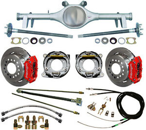 CURRIE 64-66 GM A-BODY REAR END & WILWOOD DISC BRAKES,RED CALIPER,LINES,E-CABLES