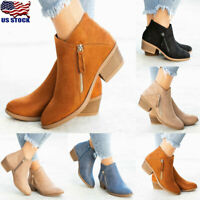 US Women's Chelsea Ankle Boots Chunky Low Heel Side Zip Winter Shoes Size 5-8.5
