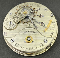 Columbus Pocket Watch Movement 18s 15j Hunter Keywind Complete Dial Hands F4901
