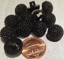 """12 Small Domed Black Plastic Shank Berry Design Buttons 1/2"""" 12.6mm # 7710"""