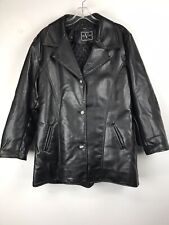 "ALTA V MODA Italian Women's Black Leather Jacket Size XL 41"" Chest Quilted Liner"