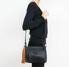 100% English Genuine Cow Soft Leather Womens Shoulder Bag Black Strap Handbag