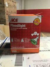 3 ACE INCANDESCENT WEATHERPROOF 100 WATT GREEN FLOODLIGHT BULB  PAR 38