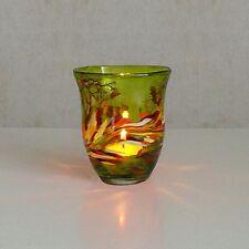 Windlicht Glas Dekoration Teelicht Zitronengelb mit buntem unikatem Motiv