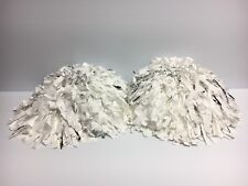 Large Handheld Flash Pom Poms Cheer Cheerleading Dance Set of 2 White & Silver