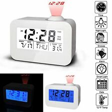 Projection Digital Temperature LCD Snooze Alarm Clock Voice Controlled Backlight