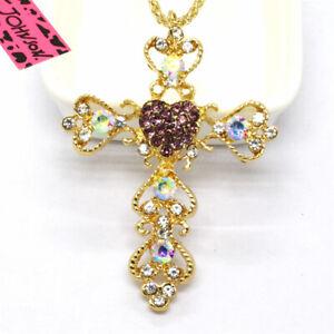 Hot Betsey Johnson Purple Cross Prayer AB Crystal Pendant China Necklace
