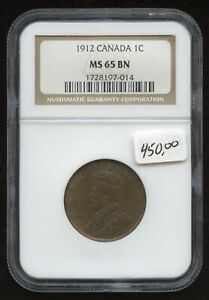 1912 Canada One Cent - NGC MS65 BN