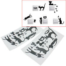 2 Sets Wall Stickers Interruttore Adesivi da Parete Murale Animali Gatto Topo