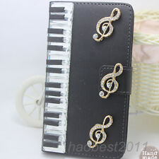 Bling Diamonds piano keys music note PU leather wallet flip Case cover skin #A