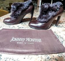 Jonny Montini Leather Ankle Italy Fur boots shoes booties Sz 38 NEW