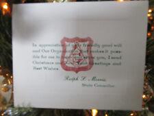 Vtg Art Deco MASONIC Mason State Councilor Christmas Card / Ralph L. Morris