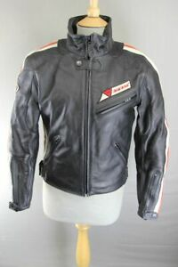 DAINESE LADIES BLACK, WHITE & RED LEATHER BIKER JACKET + REMOVABLE CE ARMOUR 34""