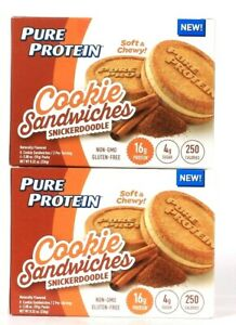 2 Boxes Pure Protein 8.32 Oz Cookie Sandwiches Snickerdoodle 16g Protein 8 Count