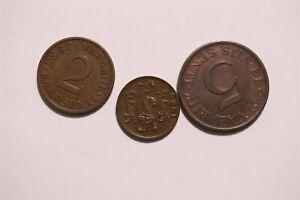 ESTONIA 1ST REPUBLIC - 3 BRONZE COINS LOT B34 II7