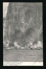 Military WW1 France RHEIMS Burning of the Cathedral PPC