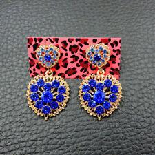 Rhinestone heart Love Drop earrings Jewel New Fashion Betsey Johnson Blue Alloy