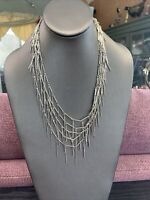 """Signed J Crew Silvertone icicle 4 Strand Dangle Statement Cluster Necklace 18"""""""