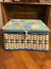 Vintage Woven Cream & Green Plastic Table Top Sewing Basket / Box – Storage –