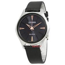 Citizen Modena Black Dial Black Leather Ladies Watch EM0591-01E