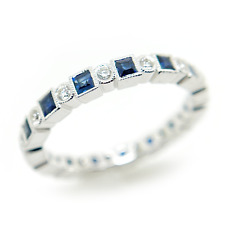 18K Gold, Sapphire, and Diamond Eternity Ring