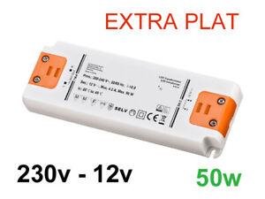 Alimentation LED transformateur extra plat 230v vers 12v 50w