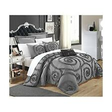 Chic Home 7-Piece Rosalia Ruffled Etched Embroidery Comforter Set, King, Grey