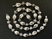 Vintage TAXCO Mexico Sterling Silver Puffy Leaf Necklace & Bracelet Set -Signed