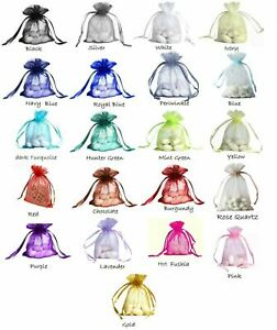 """Organza bags 4 each 4"""" x 6"""" draw string bag choose color wedding jewelry pouch"""