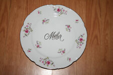 Norcrest Emboss Fine China Mother Wall Cabinet Plate Pink Roses Scallop Rim Gilt