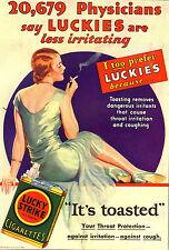 PUBBLICITA' 1930 SIGARETTE LUCKY STRIKE FUMO MEDICINA SMOKE DONNA MODA TABACCO