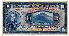 Bolivie BOLIVIA Billet 10 BOLIVIANOS 1928 P121 S. BOLIVAR VF // XF
