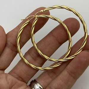 """14k Solid Yellow Gold """"big Large"""" Polished Round Twirl Hoop Earrings 52mm 4.44g"""