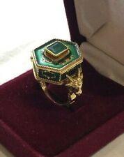 Estate Victorian Era 18K Gold, Green Enamel & Emerald Poison Ring Size 6.75