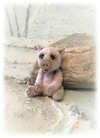 "2 1/4"" Faux Fur Piglet Pig OOAK jointed Antique Aged Artist Bear one off Design"