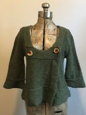Free People Double Button Wool Blend Bell Sleeve Sweater Size S/P