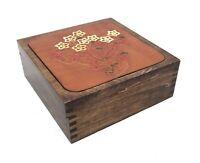 Vintage Retro Mid Century 1977 Oden Inc Wood Floral Tooled Leather Trinket Box